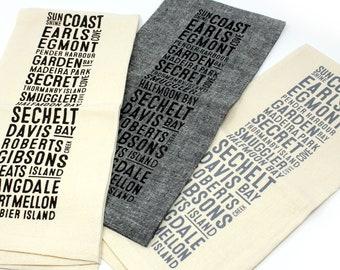 Sunshine Coast Neighbourhoods Bus Scroll Tea Towel