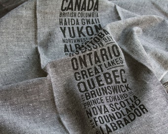 Canada Bus Scroll Tea Towel