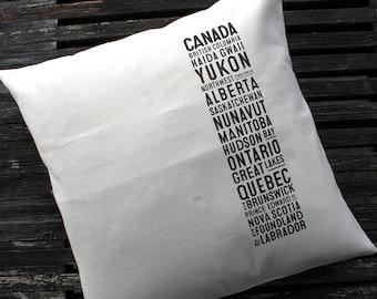 Canvas Canada Bus Scroll Pillow