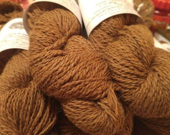 Skein of suri Alpaca fiber from our natural not dyed Butterscotch Brown Alpaca