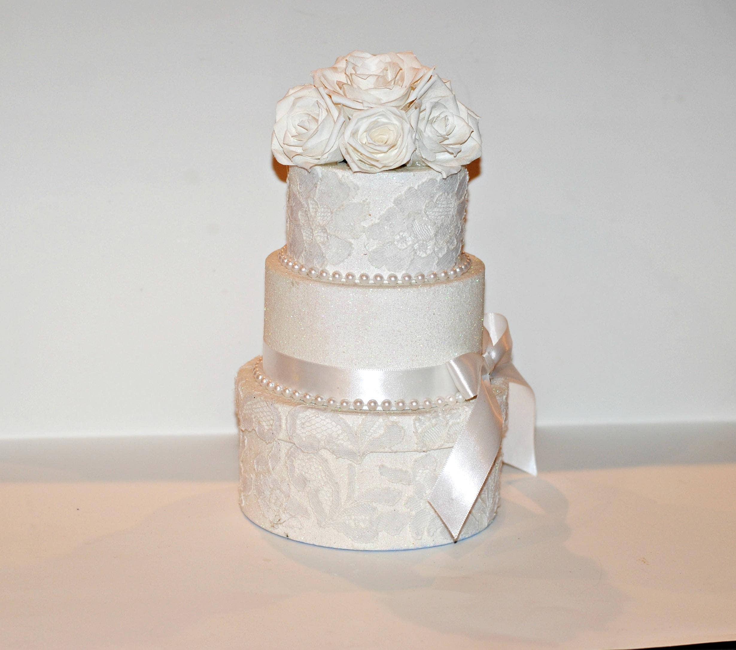 Decorated Gift Box, OOAK White Lace Gift Box, Wedding Cake Gift Box ...