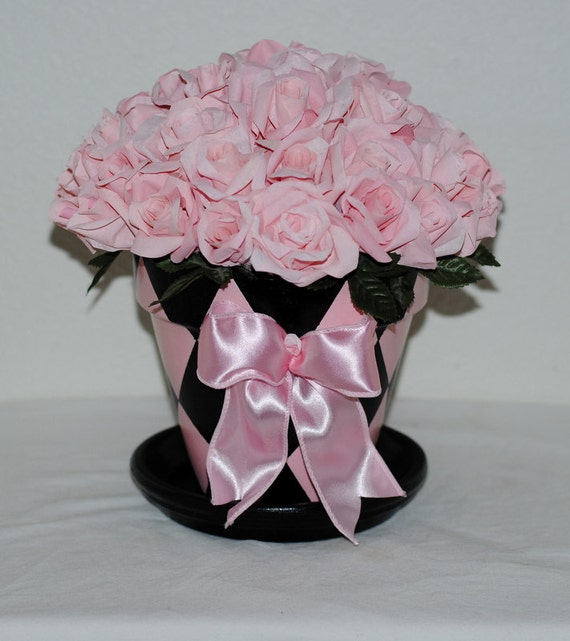 Baby Pink Paper Roses Rose Bouquet Roses In Pink And Black Etsy