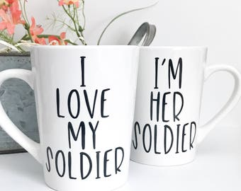CLEARANCE mug, I love my soldier, I'm her soldier 14 oz Coffee Mugs, Coffee Cup, Imperfect Mug, couples mugs,military,deployment,his and her