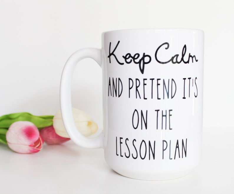 Keep Calm and Pretend It's on the Lesson Plan 15oz coffee mug, teacher mug,  teacher gift, gifts under 25, birthday gift, last day of school