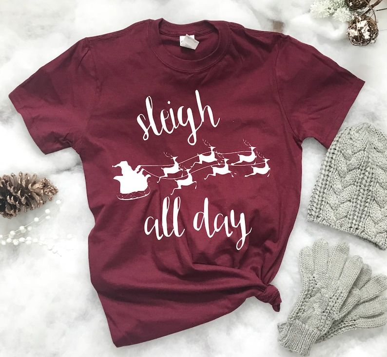 0fa9ba67 Sleigh all day ladies t-shirt t-shirt slay all day holiday | Etsy