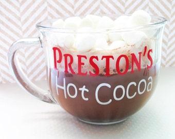 Personalized Hot Cocoa Mug, custom mug, personalized mug, big mug, coffee mug, coffee cup, tea mug, holiday mug, Christmas gift, kids mug