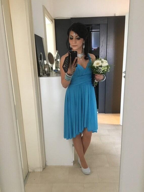 Türkis Blau Infinity Kleid Brautjungfer Kleid Cabrio Kleid multiway Kleid wickeln Wendung Kleid Knie Länge Kleid Hochzeiten formale Partei