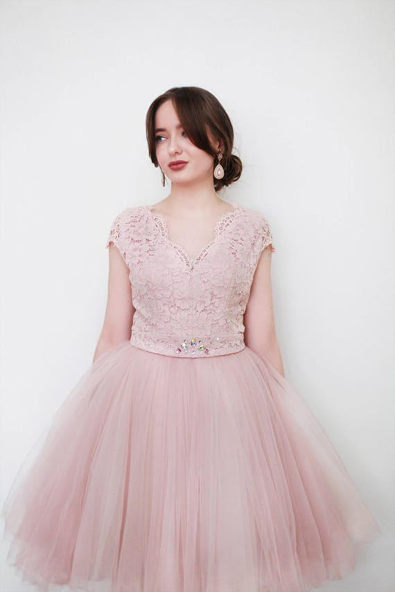 Peach Rose Vintage Inspired Prom Dress Etsy