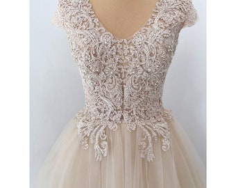 Champagne gold lace tulle dress, prom dress, rhinestone embroidery beaded beige lace dress