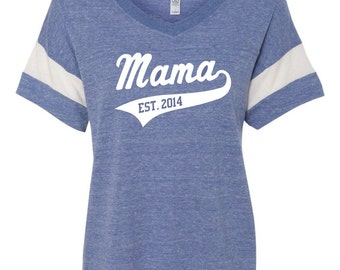8d6f1e82083c Mama V-Neck Football Tee with Personalized Year