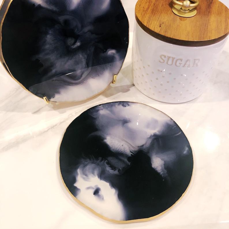 Boho Home Decor Custom Drink and Barware Coasters Modern Marble Tableware Dark Teal /& Gold Resin Coasters