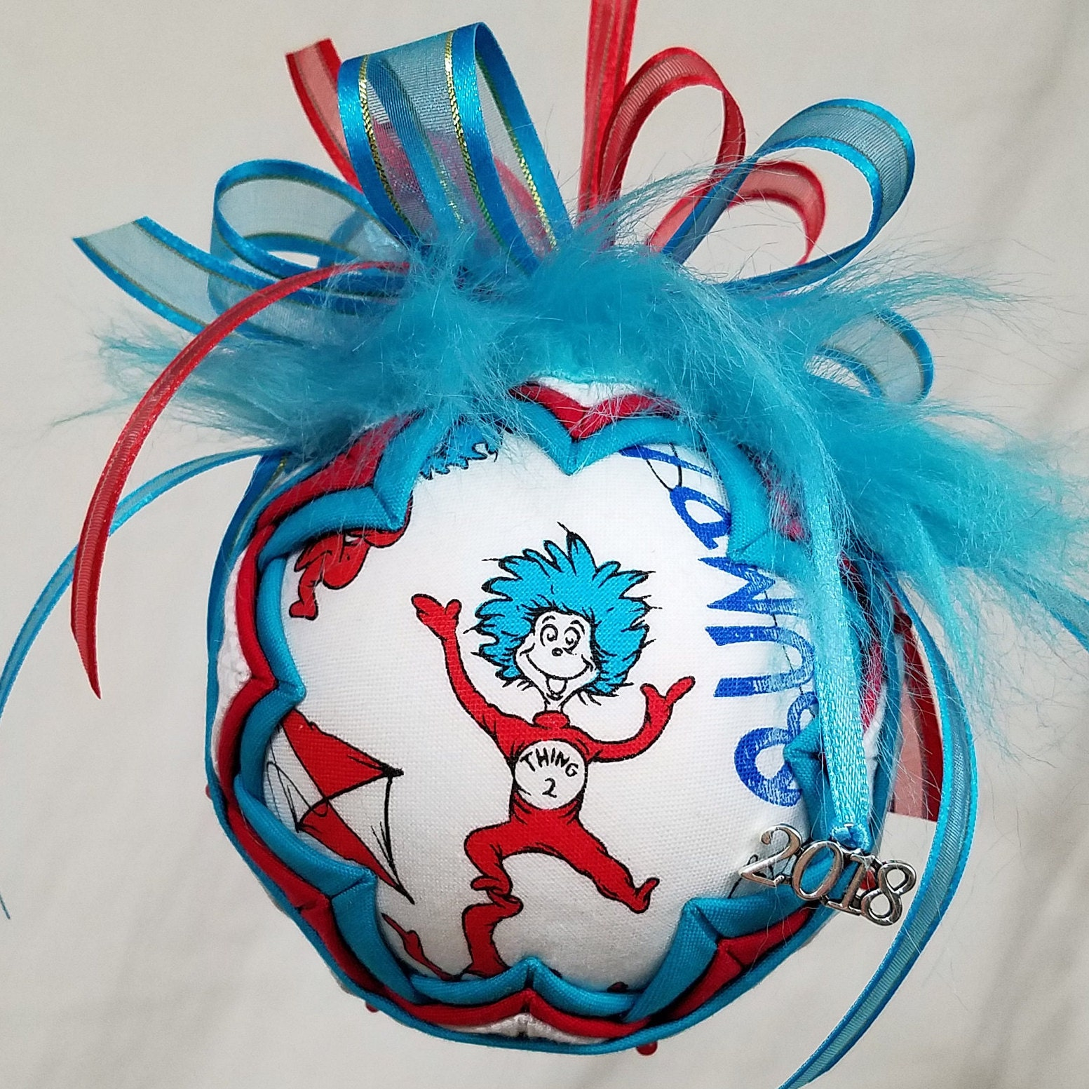 zoom Thing 2 Quilted Ornament Dr Seuss