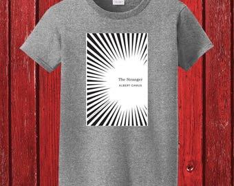 Albert Camus The Stranger Book Cover on 100% Preshrunk Cotton Tee Shirt