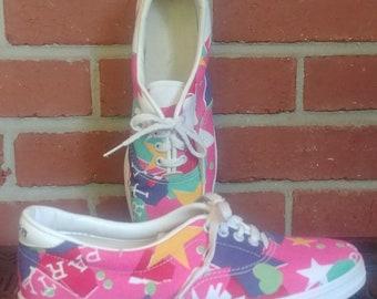 1980 ' s toile chaussures de Bowling Brunswick 8 dames 1980 ' s rose jaunes formes géométriques