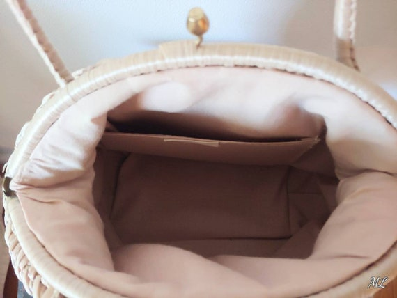 1960's Woven Handbag Neutral Top Handle Round Bag… - image 3