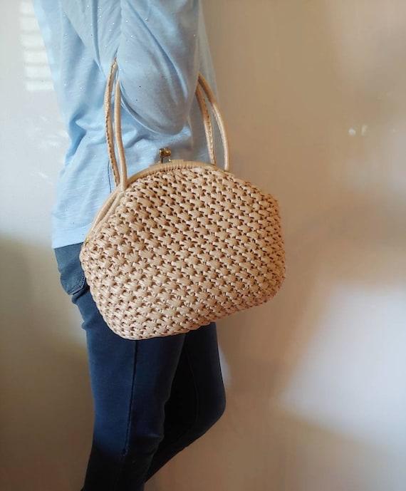1960's Woven Handbag Neutral Top Handle Round Bag… - image 1