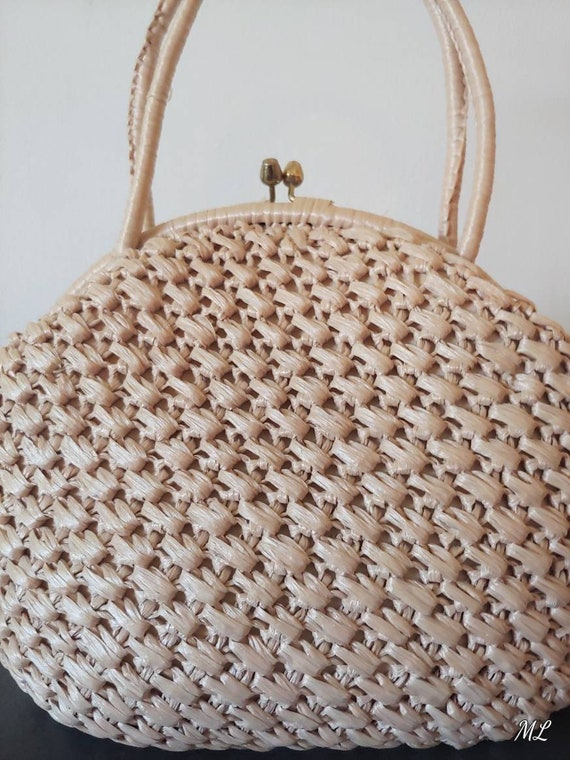 1960's Woven Handbag Neutral Top Handle Round Bag… - image 6