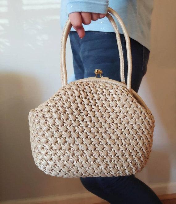1960's Woven Handbag Neutral Top Handle Round Bag… - image 2