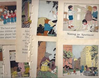 Children Reader Collage Scrap Pack (1931), 15 Paper Pages, Destash, Altered Art Bundle, Vintage Ephemera, Journal Craft Projects, Scrapbook