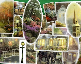 Thomas Kinkade Collage Scrap Pack, Destash, 20 Paper Pieces, Painter of Light, Altered Art, Craft Projects, Journal, Buildings Nostalgia
