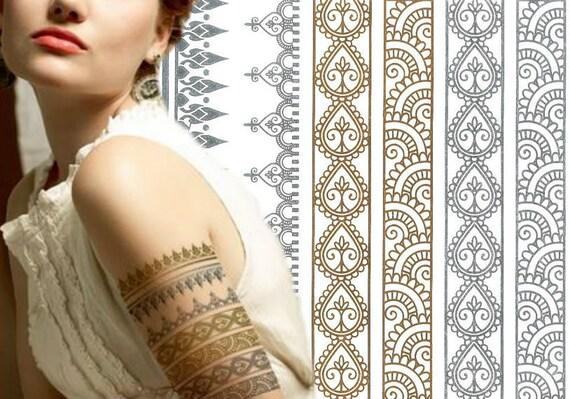Pretty Henna Design Metallic Tattoo Bracelets Stacking Etsy