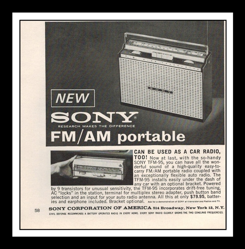 Vintage Print Ad September 1962 : Sony Portable FM/AM Radio Electronics  Wall Art Decor 5