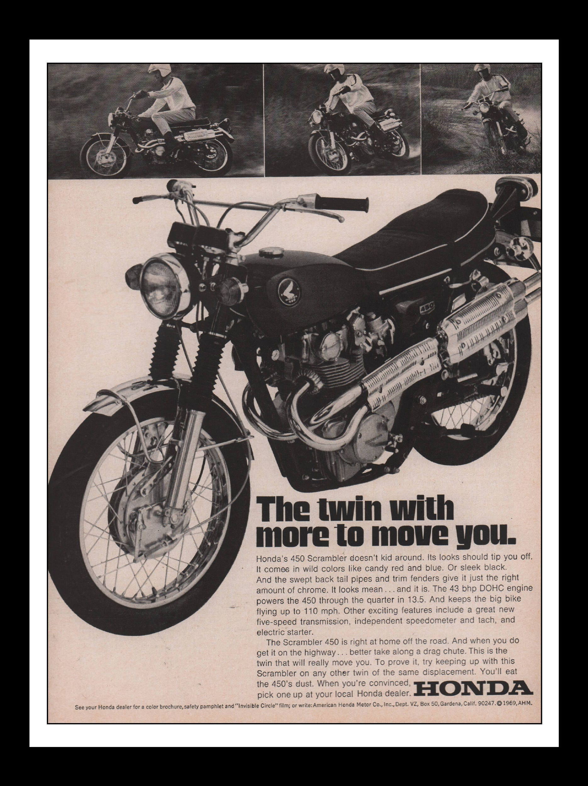 Vintage Print Ad 1960s Honda 450 Scrambler Motorcycle Etsy Motorcycles Automobile Car Wall Art Decor 85 X 11 Each Advertisement