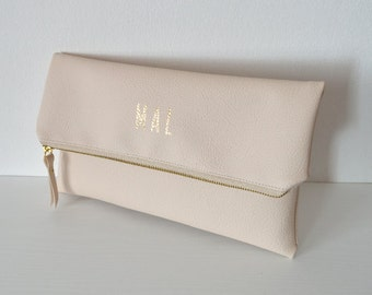 Monogrammed clutch in cream / Personalized printed clutch bag / Foldover clutch purse / Bridesmaids gift / Wedding accessory