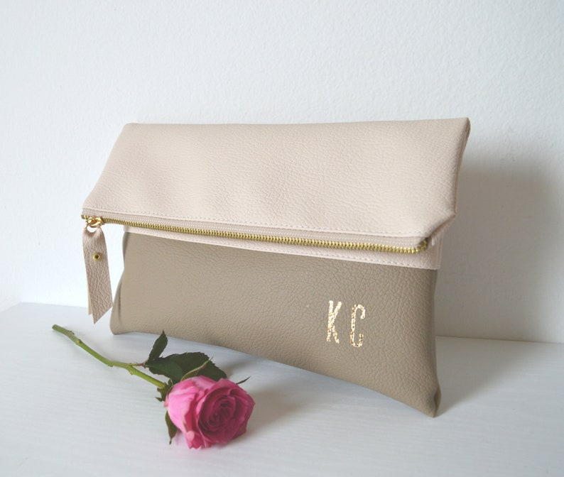 Foldover Clutch Bag Colorblock Imprinted Clutch Purse Personalized Clutch Bag Bridesmaid gift