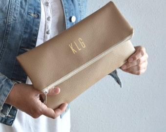 Beige Foldover Clutch Purse / Bridesmaid Gift / Personalized Clutch Bag / Evening Clutch Purse