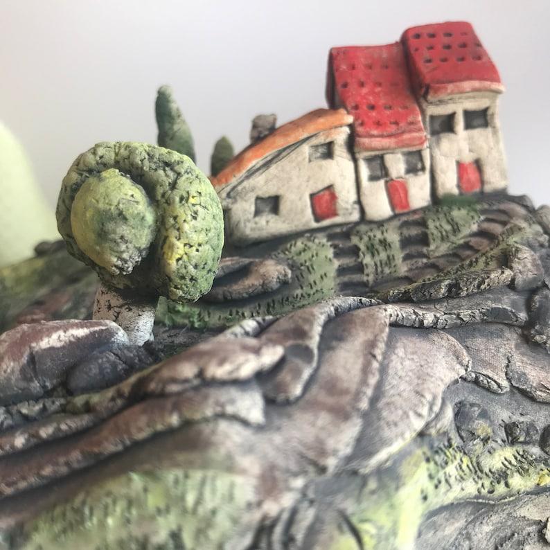 object de art. Ceramic Miniature Houses on a Hill Sculpture Collectors item