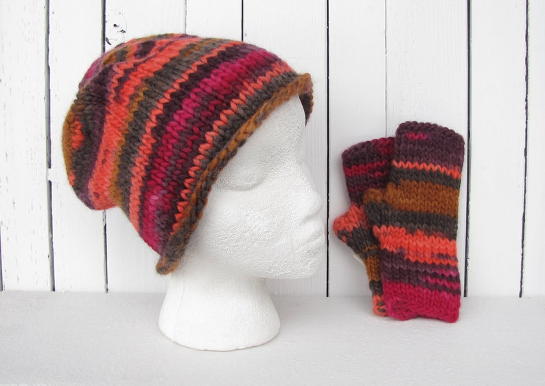 210bd105084 Wool Knit Hat   glove set for Women Magenta Pink Hat women