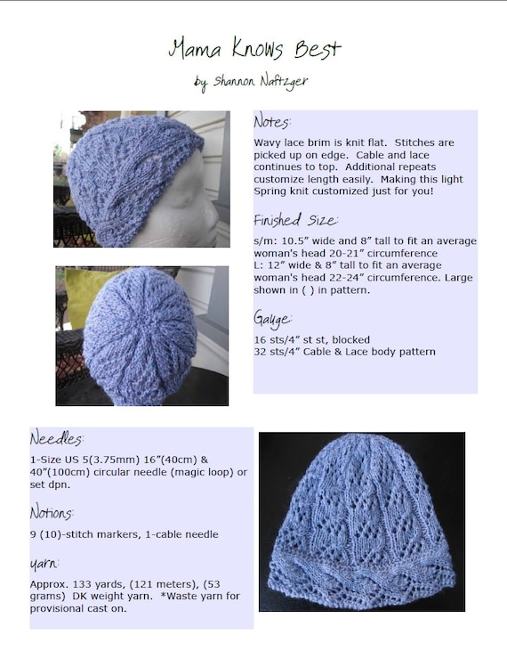 Pattern Knit Hat Pattern Lace Knit Hat Lace Knit Hat Women