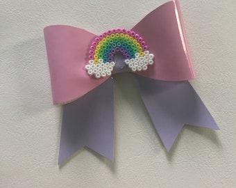Medium Hair Bow -  Pink Lilac Rainbow