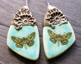 Ceramic Earrings Charms Pair with Decorative Tinwork - Light Patina - #M-15