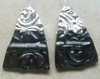Ceramic Earrings Charms Pair with Decorative Tinwork - You Choose Metal Color - #a61