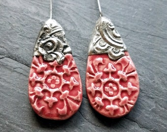 Ceramic Earrings Charms Pair with Decorative Tinwork - Light Patina - #M-13