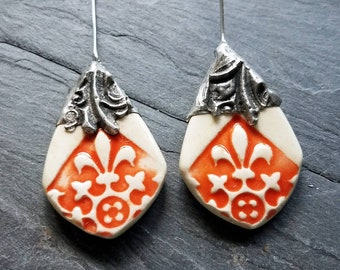 Ceramic Earrings Charms Pair with Decorative Tinwork - Light Patina -#M-16