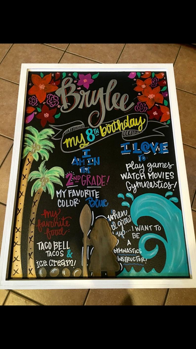 hand painted chalkboard Moana themed birthday chalkboard custom chalkboard sign-not digital