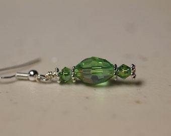 Green AB Dangle Earrings on Sterling Silver Earwires. (S-150028)