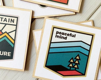 Peaceful Mind Gift, Mindful Outdoors, Outdoor Gift, Hiking Coasters, Hiker Gift, Trail Lover Gift, Adventure Badge, Adventure Coasters