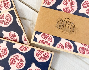 Pomegranate Coasters, Pomegranate Gift, Navy and Burgundy Decor, Navy Decor, Burgundy Decor, Tropical Coasters, Summer Decor, Coaster Set