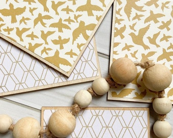 Gold Coasters, Wooden Coasters, Herringbone Decor, Gold Herringbone, Wood Coaster Set, Gold Wood Coaster, Abstract Coaster, Decorative Decor