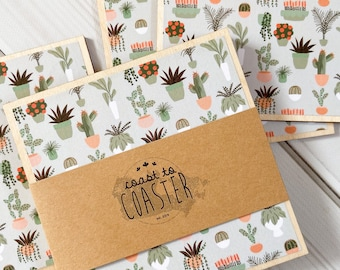 Terra Cotta Plant, Succulents, Succulent Planter, Plant Coasters, Plant Lady Gift, Wooden Coasters, Terra Cotta Decor, Succulent Decor