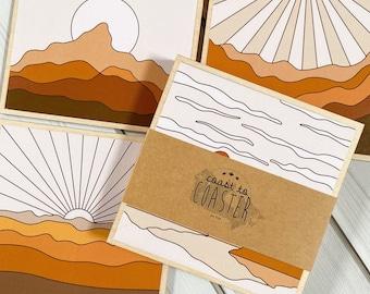 Landscape Art, Landscape Coasters, Wooden Landscapes, Ochre Landscapes, Ochre Coaster Set, Wooden Ochre Coasters, Landscapes, Nature Gift