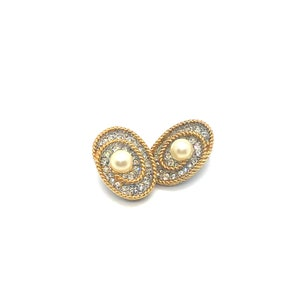 Vintage Signed Soleil Gold Plated Rhinestone Clip Earrings