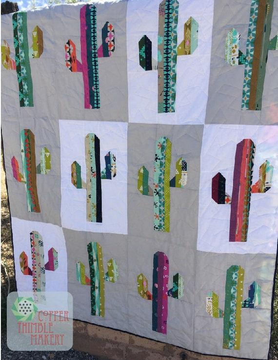 Sonoran Saguaro Quilt Pattern - Cactus Mini Quilt/Lap Quilt