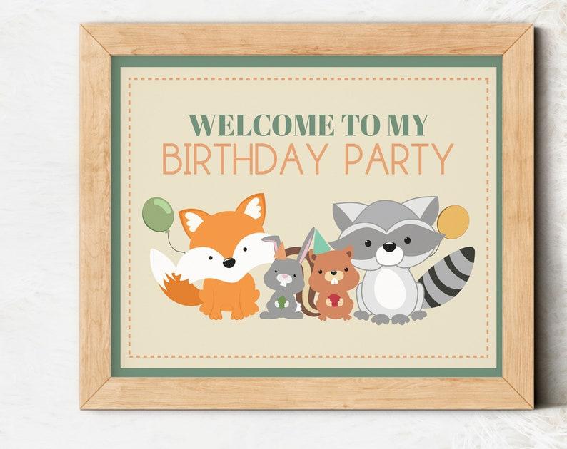 Printable Woodland Welcome Sign Woodland Welcome Sign Moose Birthday Sign Wild One Sign Woodland Birthday Sign Birthday Welcome Sign
