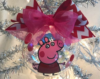custom hand decorated 4 peppa pig inspired christmas ornament