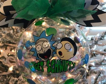 custom hand decorated rick and morty inspired 4 glass christmas ornament get schwifty